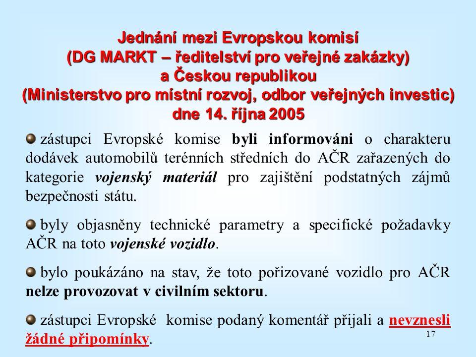 17 Jednání mezi Evropskou komisí (DG MARKT – ředitelství pro veřejné zakázky) a Českou republikou (Ministerstvo pro místní rozvoj, odbor veřejných inv