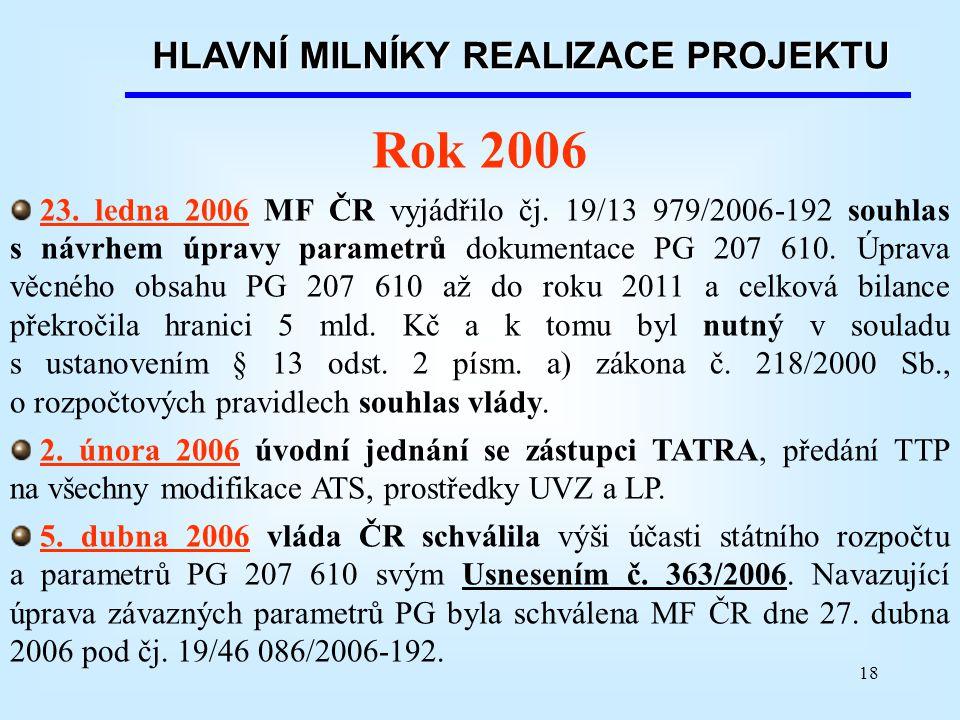 18 HLAVNÍ MILNÍKY REALIZACE PROJEKTU Rok 2006 23. ledna 2006 MF ČR vyjádřilo čj. 19/13 979/2006-192 souhlas s návrhem úpravy parametrů dokumentace PG