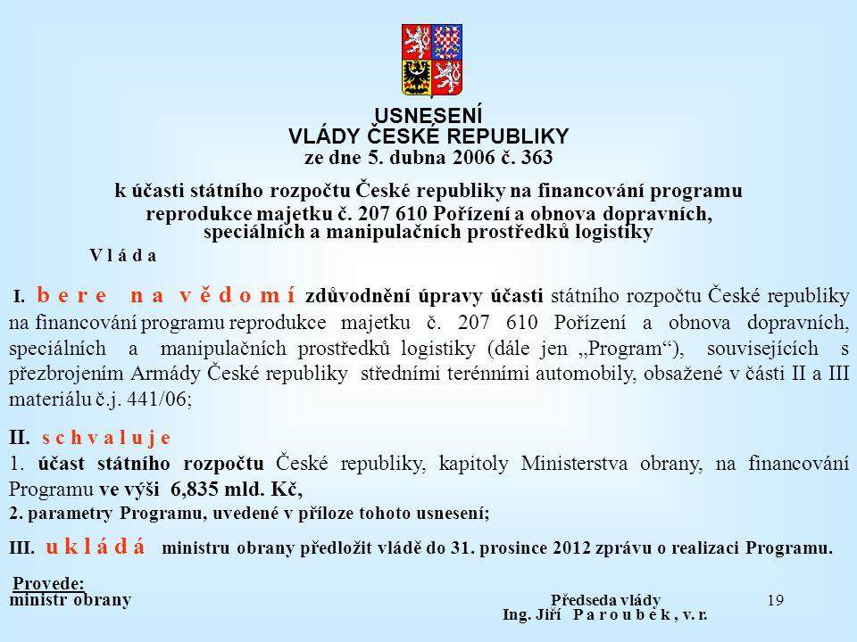 19 USNESENÍ VLÁDY ČESKÉ REPUBLIKY ze dne 5. dubna 2006 č. 363 k účasti státního rozpočtu České republiky na financování programu reprodukce majetku č.