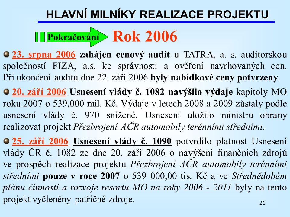 21 Rok 2006 23. srpna 2006 zahájen cenový audit u TATRA, a. s. auditorskou společností FIZA, a.s. ke správnosti a ověření navrhovaných cen. Při ukonče