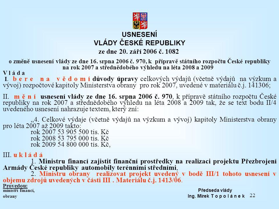 22 USNESENÍ VLÁDY ČESKÉ REPUBLIKY ze dne 20. září 2006 č. 1082 o změně usnesení vlády ze dne 16. srpna 2006 č. 970, k přípravě státního rozpočtu České