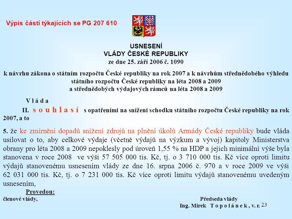 23 USNESENÍ VLÁDY ČESKÉ REPUBLIKY ze dne 25. září 2006 č. 1090 k návrhu zákona o státním rozpočtu České republiky na rok 2007 a k návrhům střednědobéh