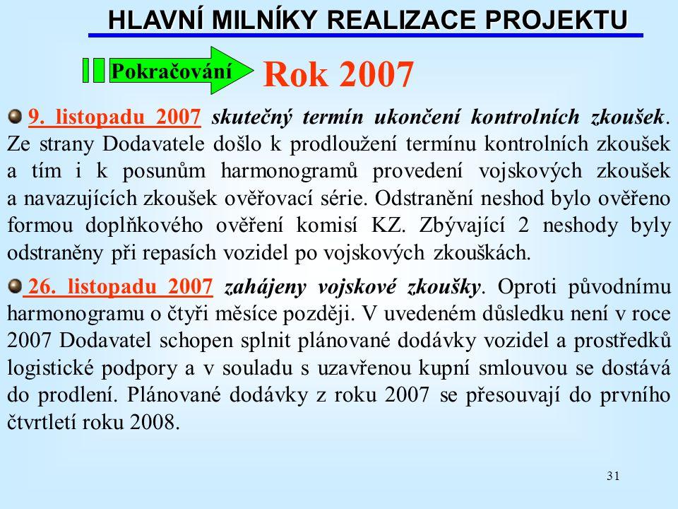 31 HLAVNÍ MILNÍKY REALIZACE PROJEKTU Rok 2007 9. listopadu 2007 skutečný termín ukončení kontrolních zkoušek. Ze strany Dodavatele došlo k prodloužení