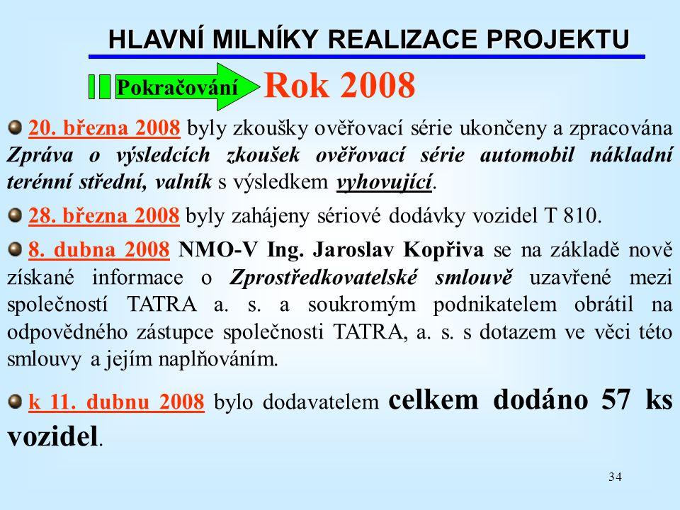 34 HLAVNÍ MILNÍKY REALIZACE PROJEKTU Rok 2008 20. března 2008 byly zkoušky ověřovací série ukončeny a zpracována Zpráva o výsledcích zkoušek ověřovací