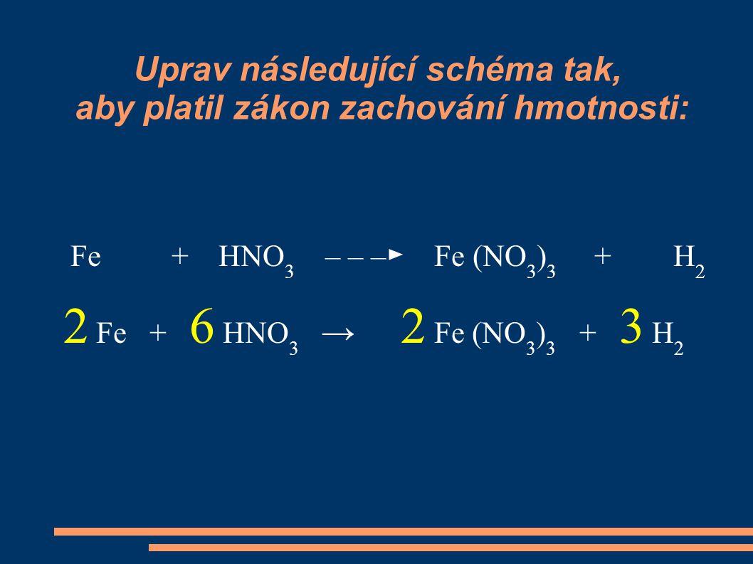 Uprav následující schéma tak, aby platil zákon zachování hmotnosti: Fe + HNO 3 – – –► Fe (NO 3 ) 3 + H 2 2 Fe + 6 HNO 3 → 2 Fe (NO 3 ) 3 + 3 H 2