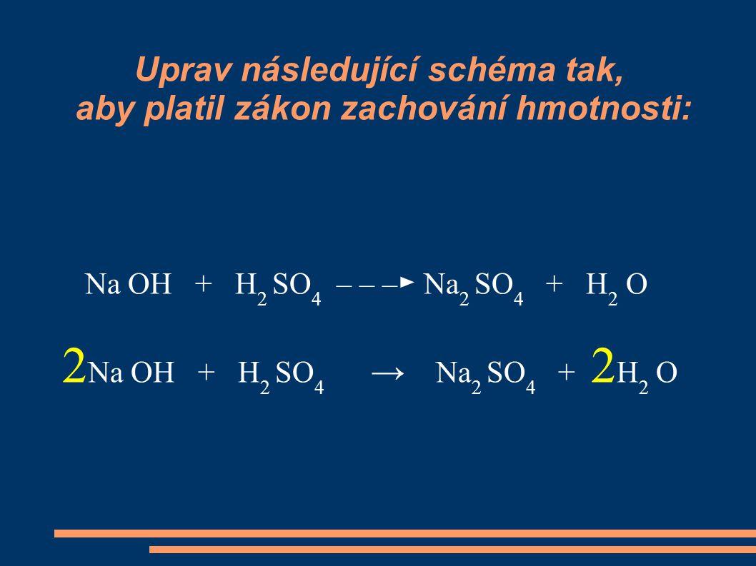 Uprav následující schéma tak, aby platil zákon zachování hmotnosti: Na OH + H 2 SO 4 – – –► Na 2 SO 4 + H 2 O 2 Na OH + H 2 SO 4 → Na 2 SO 4 + 2 H 2 O