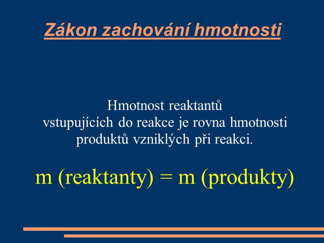 Zákon zachování hmotnosti Hmotnost reaktantů vstupujících do reakce je rovna hmotnosti produktů vzniklých při reakci. m (reaktanty) = m (produkty)