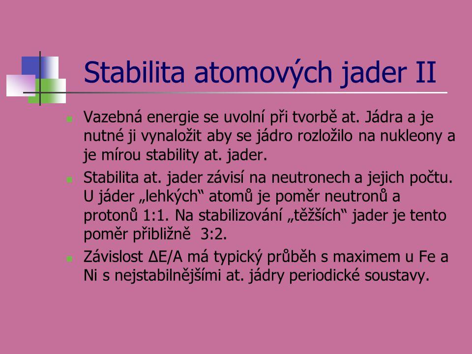 Stabilita atomových jader II Vazebná energie se uvolní při tvorbě at. Jádra a je nutné ji vynaložit aby se jádro rozložilo na nukleony a je mírou stab