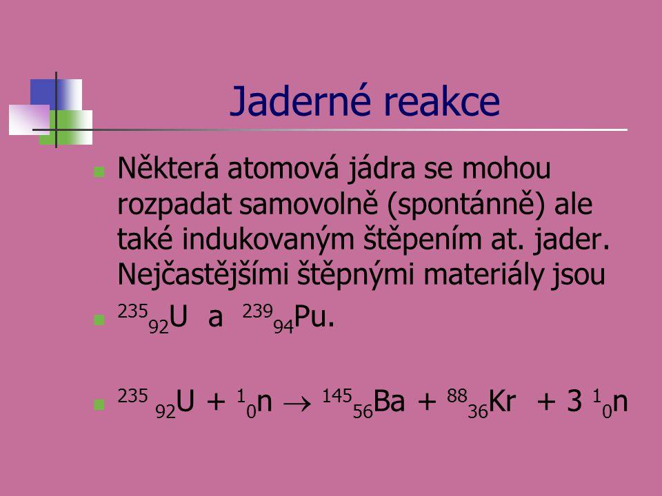 Jaderné reakce Některá atomová jádra se mohou rozpadat samovolně (spontánně) ale také indukovaným štěpením at. jader. Nejčastějšími štěpnými materiály