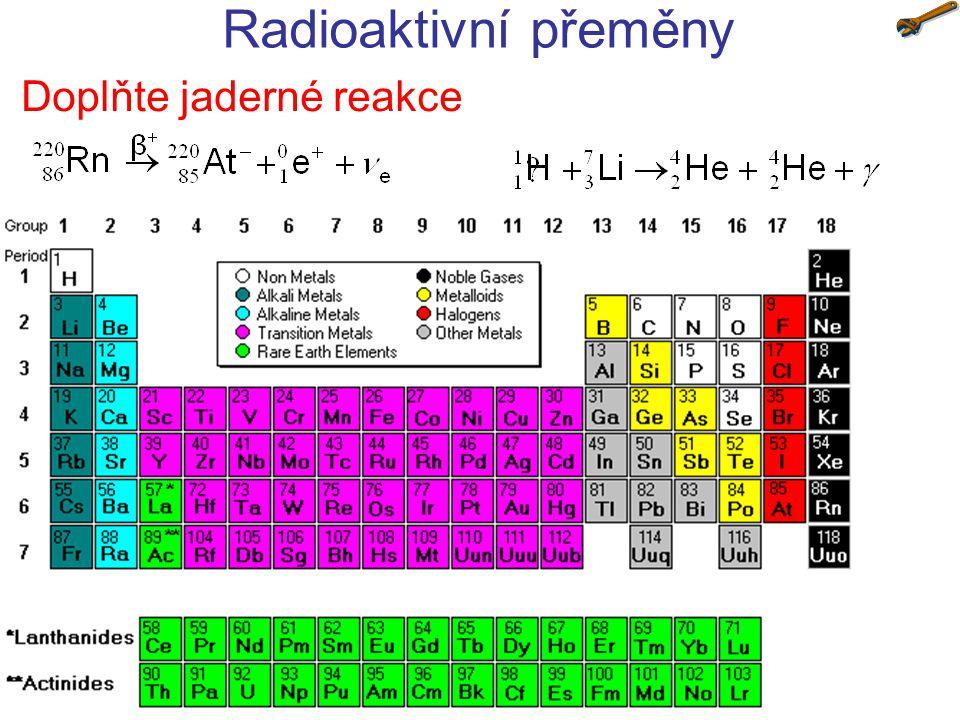 Radioaktivní přeměny Doplňte jaderné reakce