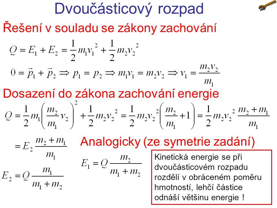 Dvoučásticový rozpad Řešení v souladu se zákony zachování Dosazení do zákona zachování energie Analogicky (ze symetrie zadání) Kinetická energie se př