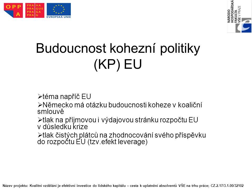 Budoucnost kohezní politiky (KP) EU  téma napříč EU  Německo má otázku budoucnosti koheze v koaliční smlouvě  tlak na příjmovou i výdajovou stránku rozpočtu EU v důsledku krize lak čistých plátců na zhodnocování svého příspěvku do rozpočtu EU (tzv.efekt leverage) Název projektu: Kvalitní vzdělání je efektivní investice do lidského kapitálu – cesta k uplatnění absolventů VŠE na trhu práce; CZ.2.17/3.1.00/32102