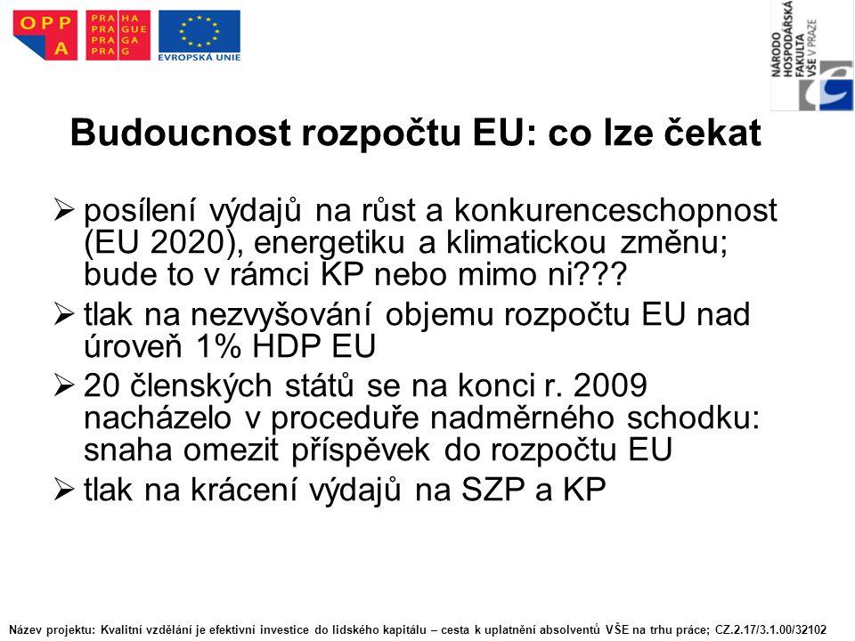 Budoucnost rozpočtu EU: co lze čekat  posílení výdajů na růst a konkurenceschopnost (EU 2020), energetiku a klimatickou změnu; bude to v rámci KP nebo mimo ni .
