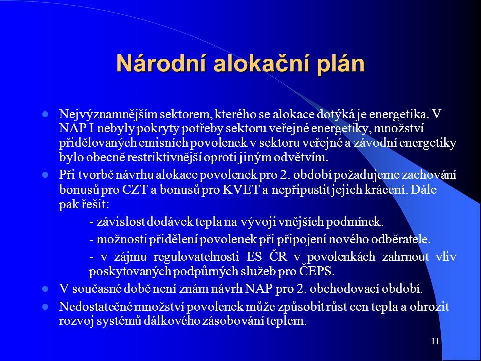 11 Národní alokační plán Nejvýznamnějším sektorem, kterého se alokace dotýká je energetika. V NAP I nebyly pokryty potřeby sektoru veřejné energetiky,