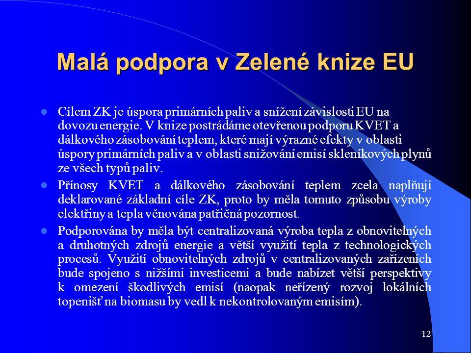 12 Malá podpora v Zelené knize EU Cílem ZK je úspora primárních paliv a snížení závislosti EU na dovozu energie. V knize postrádáme otevřenou podporu