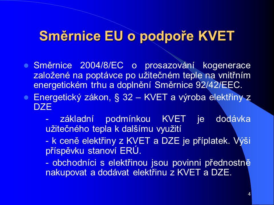 4 Směrnice EU o podpoře KVET Směrnice 2004/8/EC o prosazování kogenerace založené na poptávce po užitečném teple na vnitřním energetickém trhu a doplnění Směrnice 92/42/EEC.