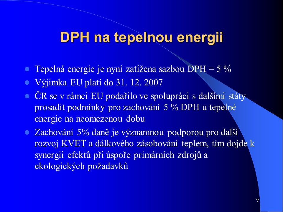 7 DPH na tepelnou energii Tepelná energie je nyní zatížena sazbou DPH = 5 % Výjimka EU platí do 31. 12. 2007 ČR se v rámci EU podařilo ve spolupráci s