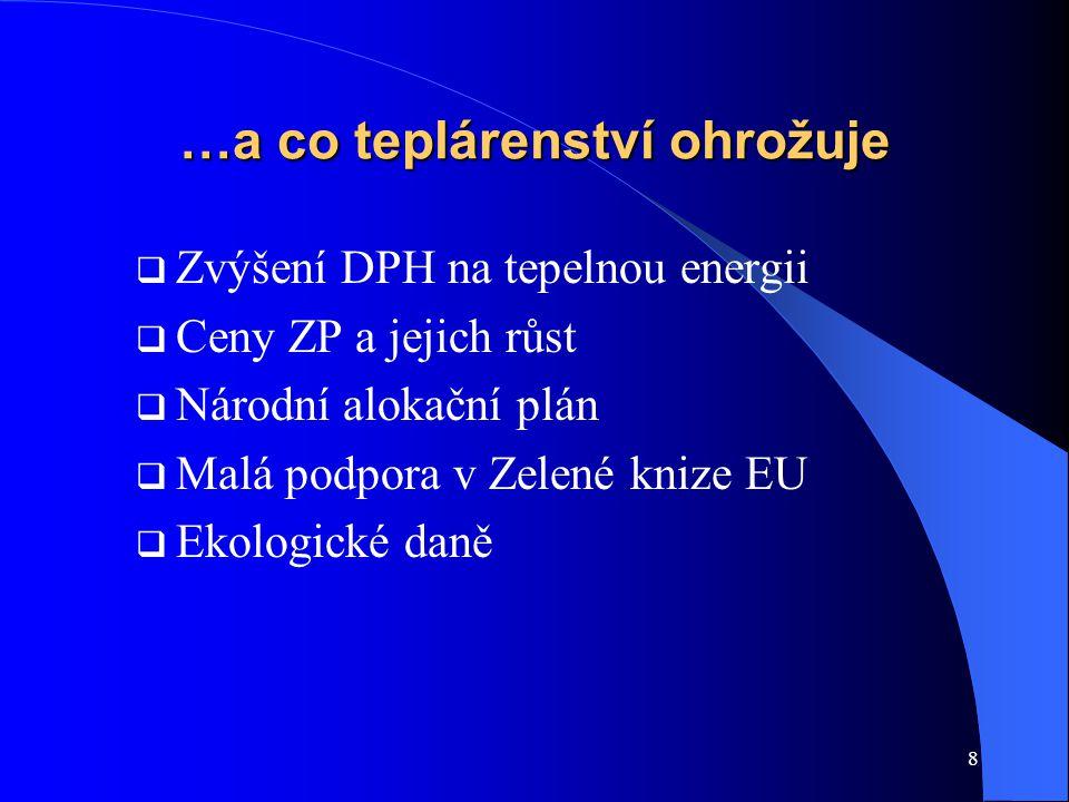 8 …a co teplárenství ohrožuje  Zvýšení DPH na tepelnou energii  Ceny ZP a jejich růst  Národní alokační plán  Malá podpora v Zelené knize EU  Ekologické daně