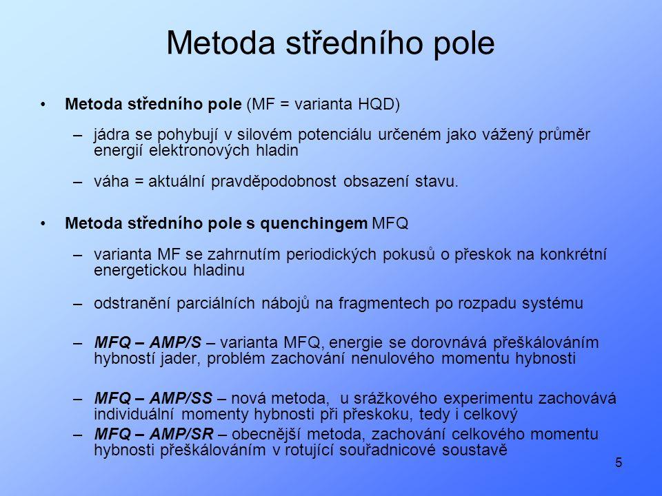 5 Metoda středního pole Metoda středního pole (MF = varianta HQD) –jádra se pohybují v silovém potenciálu určeném jako vážený průměr energií elektronových hladin –váha = aktuální pravděpodobnost obsazení stavu.