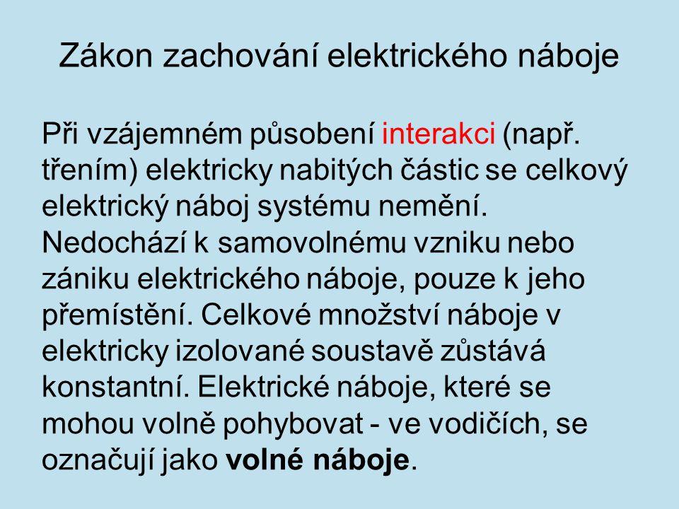 Při vzájemném působení interakci (např. třením) elektricky nabitých částic se celkový elektrický náboj systému nemění. Nedochází k samovolnému vzniku
