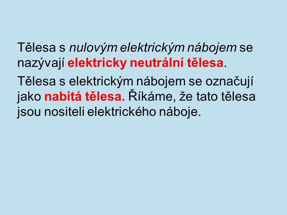 Tělesa s nulovým elektrickým nábojem se nazývají elektricky neutrální tělesa. Tělesa s elektrickým nábojem se označují jako nabitá tělesa. Říkáme, že
