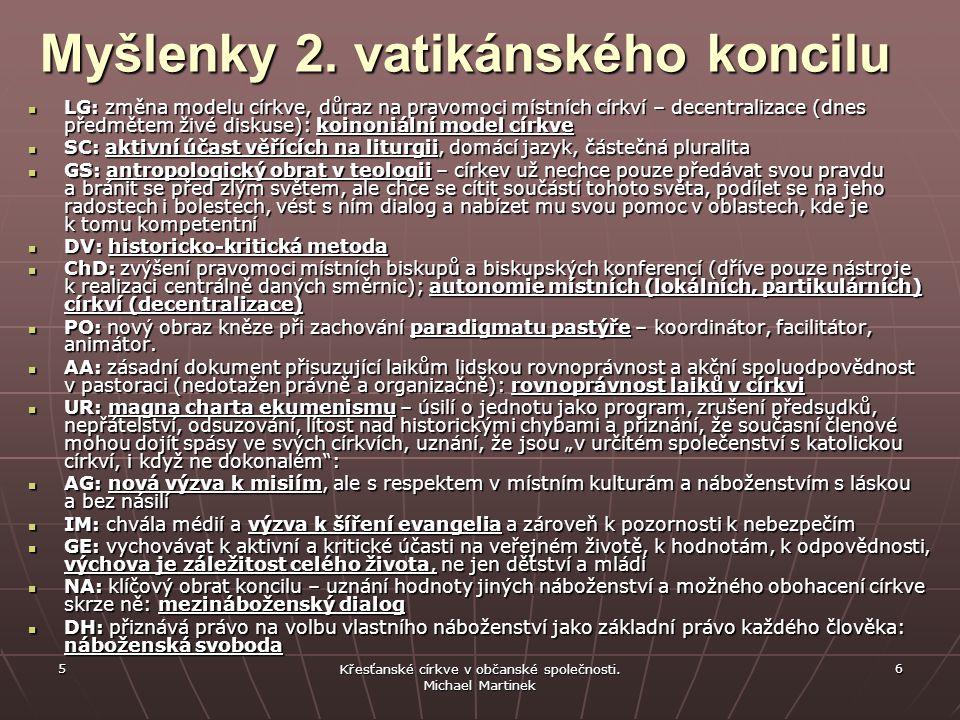 5 Křesťanské církve v občanské společnosti. Michael Martinek 6 Myšlenky 2.