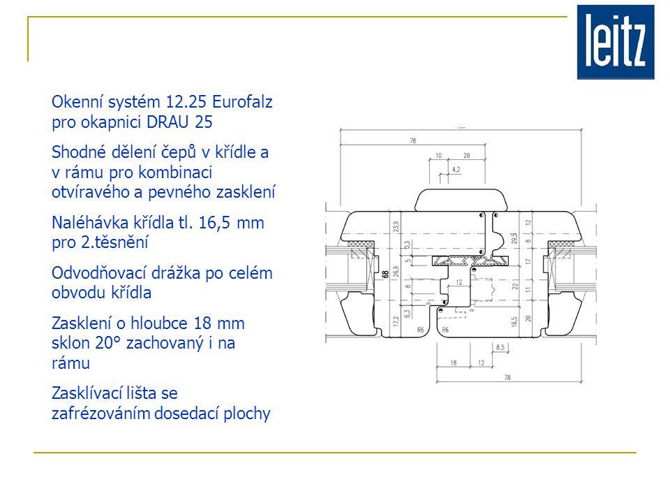 Okenní systém 12.25 Eurofalz pro okapnici DRAU 25 Shodné dělení čepů v křídle a v rámu pro kombinaci otvíravého a pevného zasklení Naléhávka křídla tl