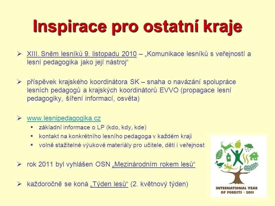"""Inspirace pro ostatní kraje  XIII. Sněm lesníků 9. listopadu 2010 – """"Komunikace lesníků s veřejností a lesní pedagogika jako její nástroj""""  příspěve"""