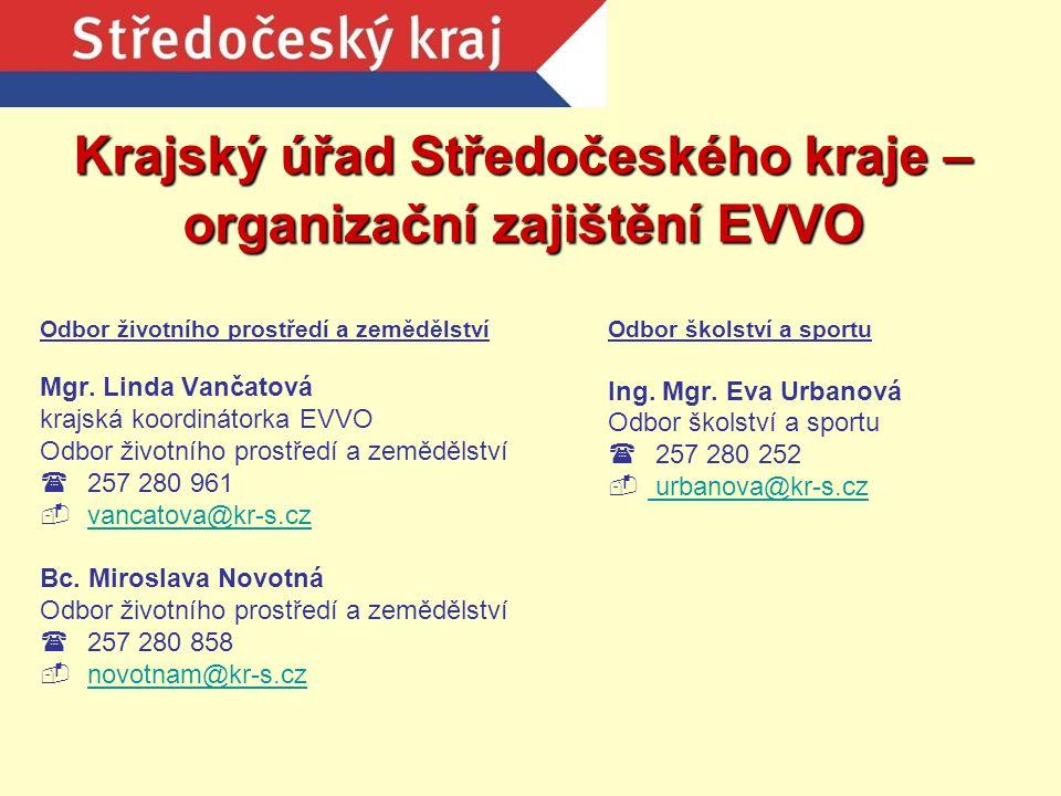 Krajský úřad Středočeského kraje – organizační zajištění EVVO Odbor životního prostředí a zemědělství Mgr. Linda Vančatová krajská koordinátorka EVVO