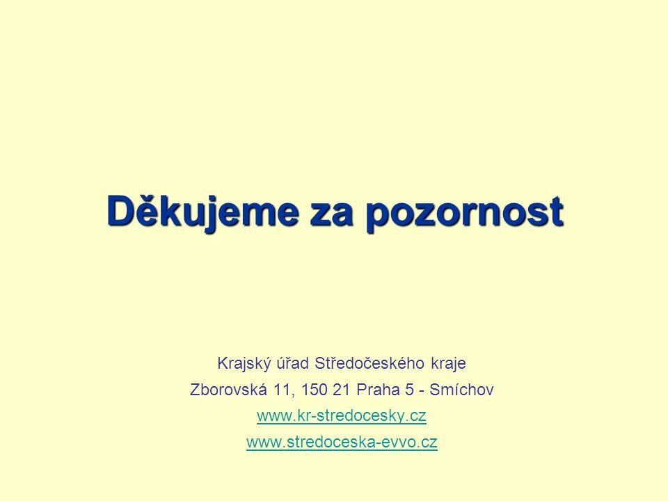 Děkujeme za pozornost Krajský úřad Středočeského kraje Zborovská 11, 150 21 Praha 5 - Smíchov www.kr-stredocesky.cz www.stredoceska-evvo.cz