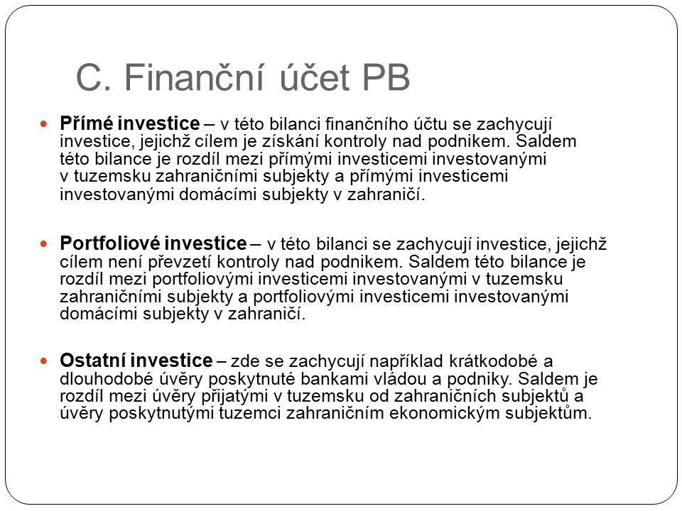 C. Finanční účet PB Přímé investice – v této bilanci finančního účtu se zachycují investice, jejichž cílem je získání kontroly nad podnikem. Saldem té