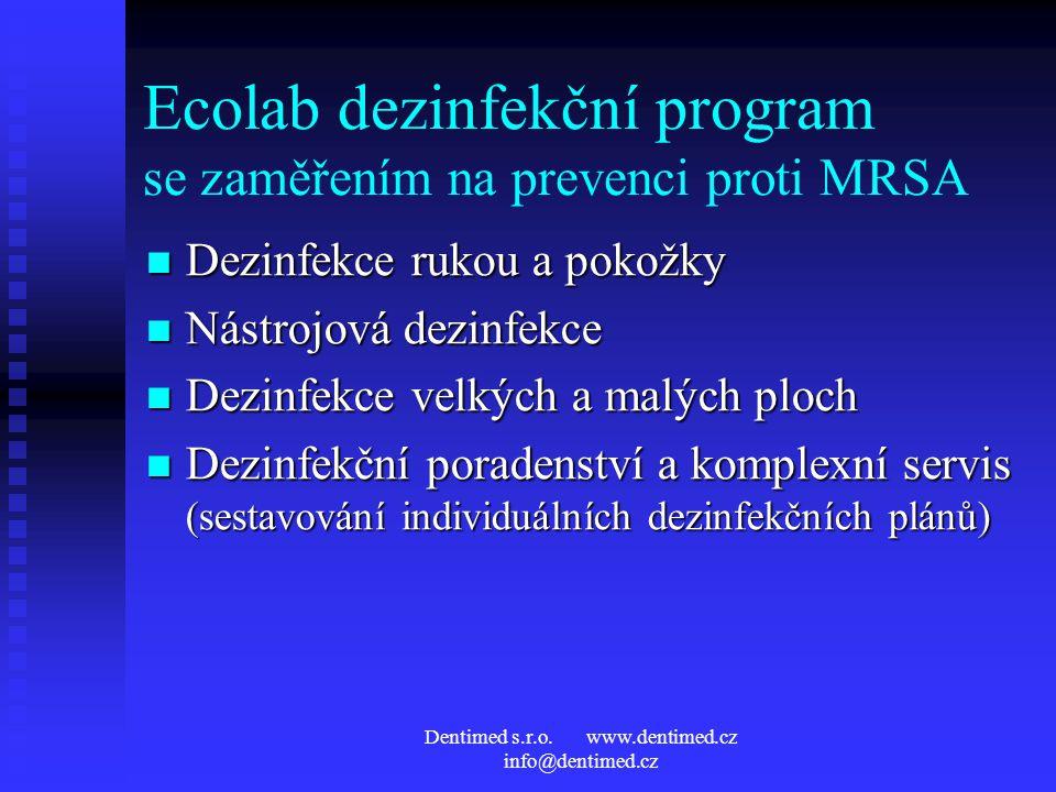 Dentimed s.r.o. www.dentimed.cz info@dentimed.cz Ecolab dezinfekční program se zaměřením na prevenci proti MRSA Dezinfekce rukou a pokožky Dezinfekce