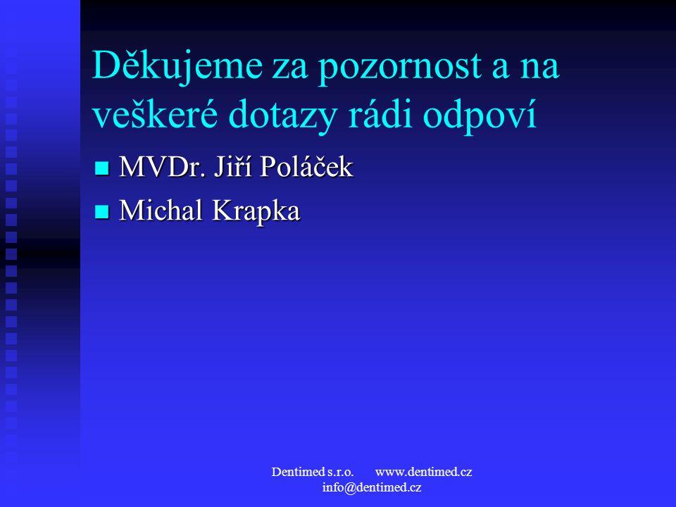 Dentimed s.r.o. www.dentimed.cz info@dentimed.cz Děkujeme za pozornost a na veškeré dotazy rádi odpoví MVDr. Jiří Poláček MVDr. Jiří Poláček Michal Kr
