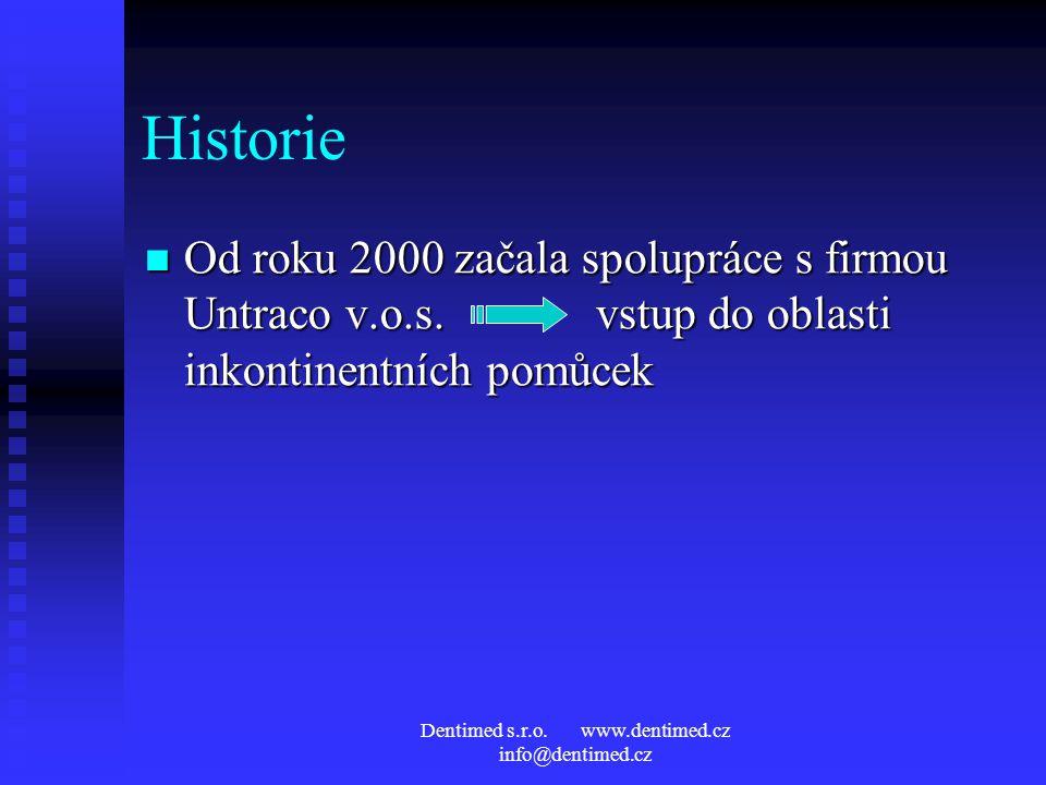 Dentimed s.r.o. www.dentimed.cz info@dentimed.cz Historie Od roku 2000 začala spolupráce s firmou Untraco v.o.s. vstup do oblasti inkontinentních pomů