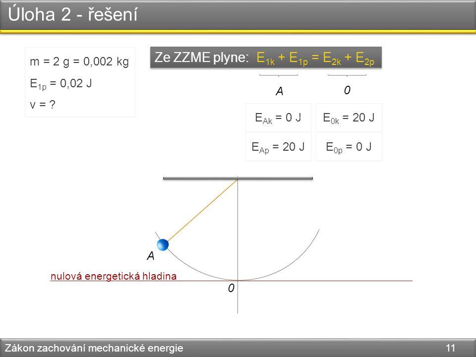 Úloha 2 - řešení Zákon zachování mechanické energie 11 A 0 m = 2 g = 0,002 kg E 1p = 0,02 J v = ? Ze ZZME plyne: E 1k + E 1p = E 2k + E 2p E Ap = 20 J