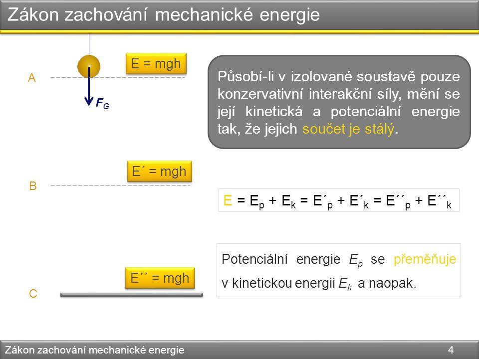 Zákon zachování mechanické energie Zákon zachování mechanické energie 4 FGFG A B C E = mgh E´ = mgh E´´ = mgh Působí-li v izolované soustavě pouze kon