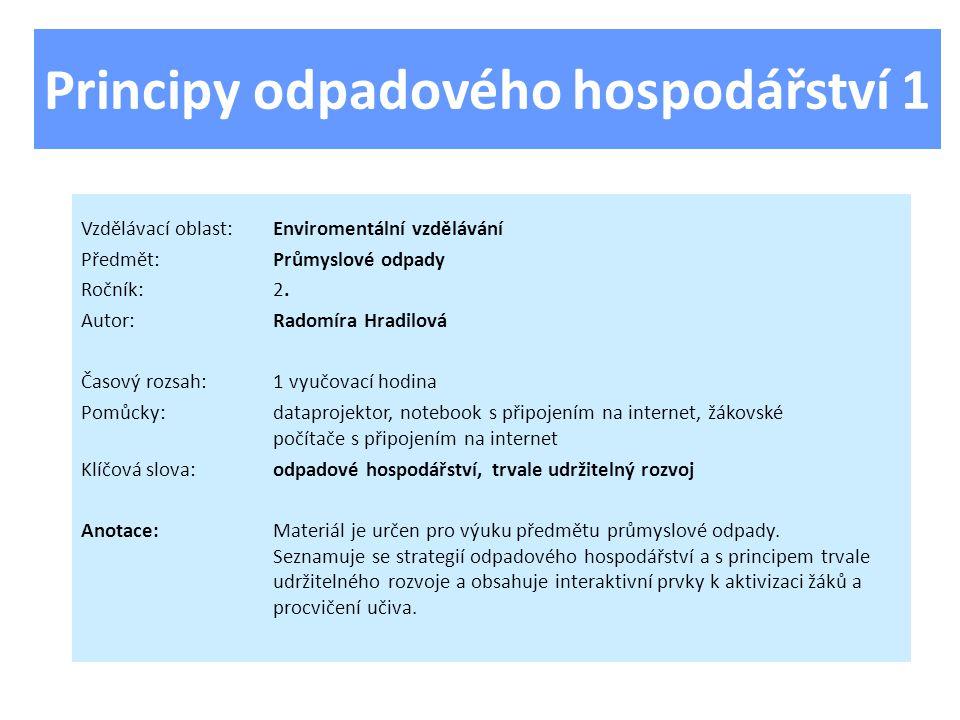 Principy odpadového hospodářství 1 Vzdělávací oblast:Enviromentální vzdělávání Předmět:Průmyslové odpady Ročník:2.