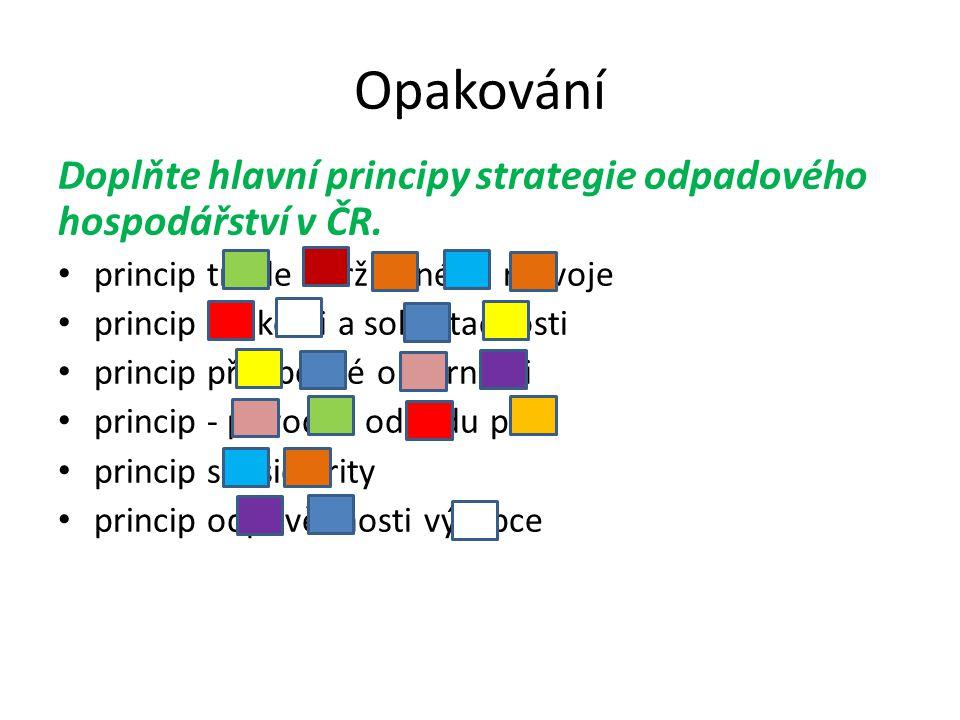 Opakování Doplňte hlavní principy strategie odpadového hospodářství v ČR.