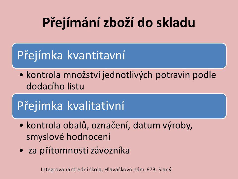 Druhy skladů Suché skladyChladné skladyChlazené sklady Mrazicí sklady Integrovaná střední škola, Hlaváčkovo nám.