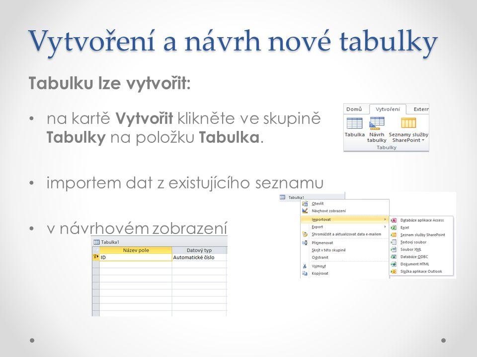 Vytvoření a návrh nové tabulky Tabulku lze vytvořit: na kartě Vytvořit klikněte ve skupině Tabulky na položku Tabulka.