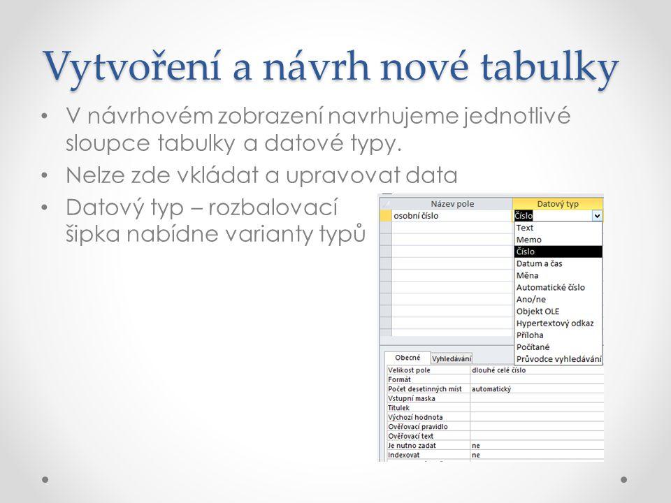 Vytvoření a návrh nové tabulky V návrhovém zobrazení navrhujeme jednotlivé sloupce tabulky a datové typy.