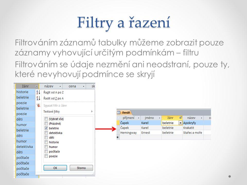 Filtry a řazení Filtrováním záznamů tabulky můžeme zobrazit pouze záznamy vyhovující určitým podmínkám – filtru Filtrováním se údaje nezmění ani neodstraní, pouze ty, které nevyhovují podmínce se skryjí
