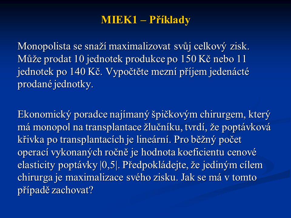 MIEK1 – Příklady Monopolista se snaží maximalizovat svůj celkový zisk.