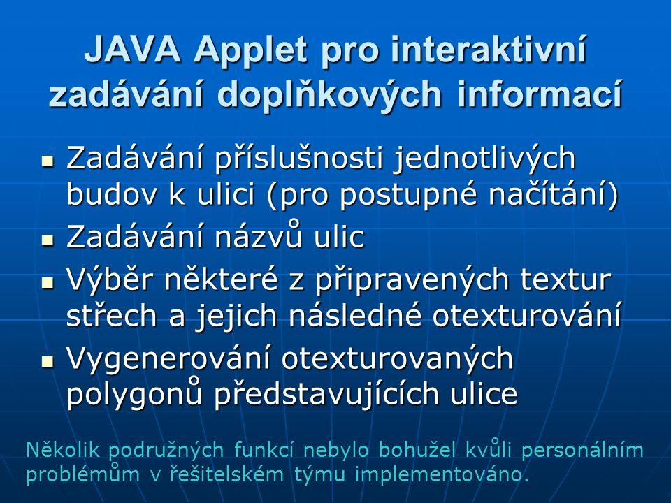 JAVA Applet pro interaktivní zadávání doplňkových informací Zadávání příslušnosti jednotlivých budov k ulici (pro postupné načítání) Zadávání příslušn
