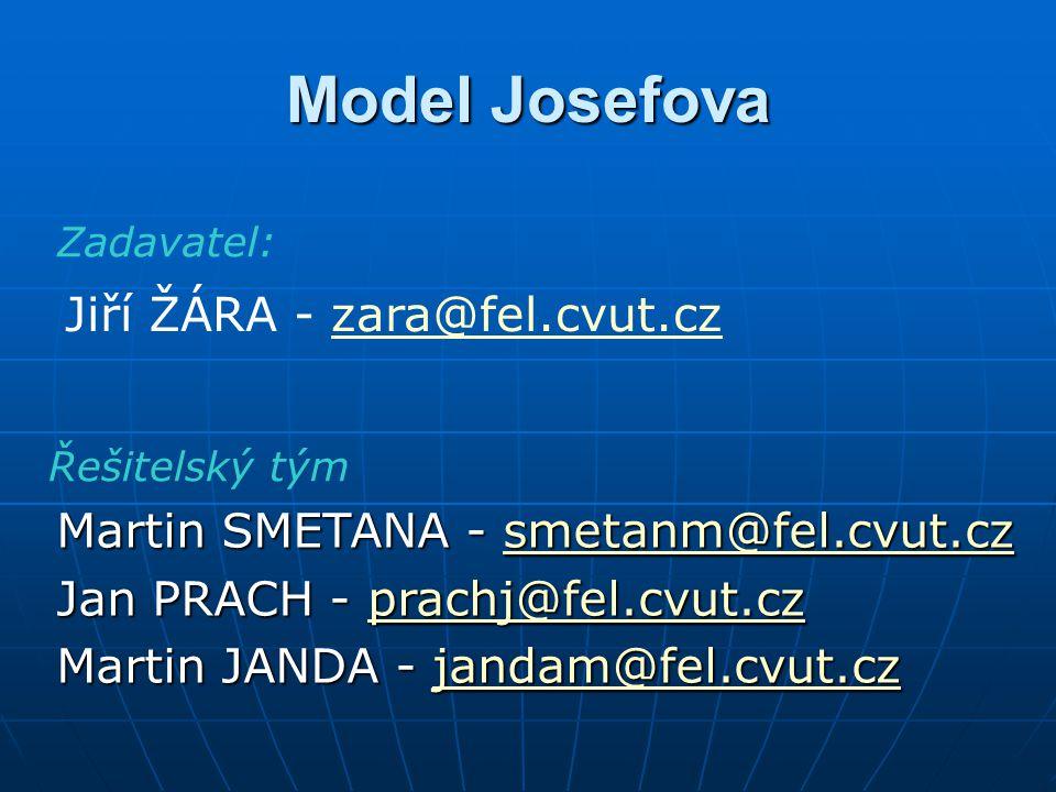 Model Josefova Martin SMETANA - smetanm@fel.cvut.cz smetanm@fel.cvut.cz Jan PRACH - prachj@fel.cvut.cz prachj@fel.cvut.cz Martin JANDA - jandam@fel.cvut.cz jandam@fel.cvut.cz Jiří ŽÁRA - zara@fel.cvut.czzara@fel.cvut.cz Zadavatel: Řešitelský tým