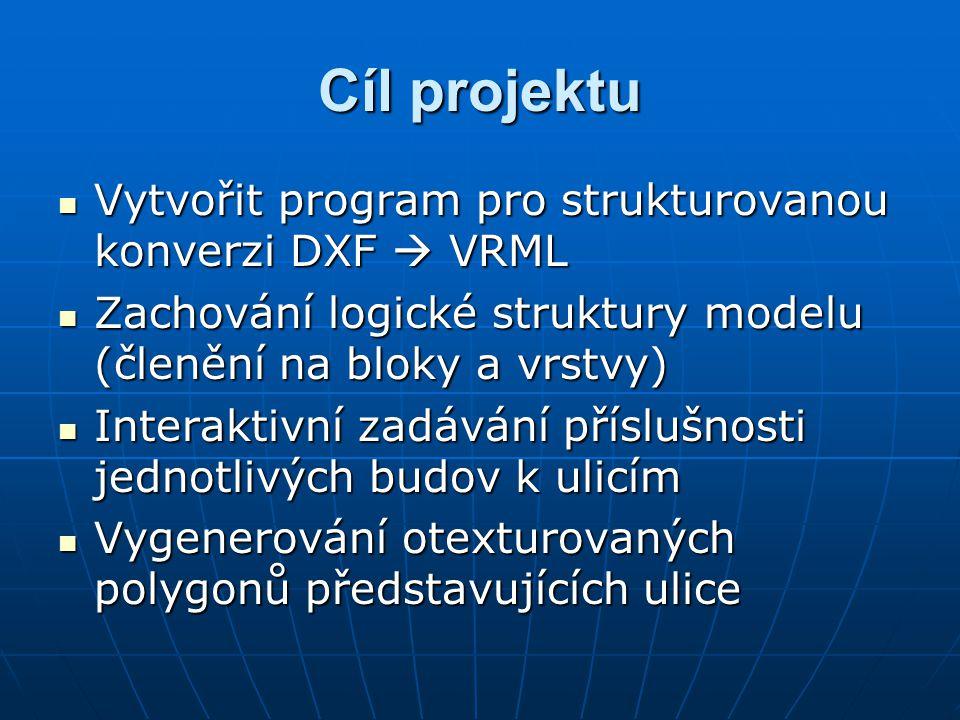 Cíl projektu Vytvořit program pro strukturovanou konverzi DXF  VRML Vytvořit program pro strukturovanou konverzi DXF  VRML Zachování logické struktury modelu (členění na bloky a vrstvy) Zachování logické struktury modelu (členění na bloky a vrstvy) Interaktivní zadávání příslušnosti jednotlivých budov k ulicím Interaktivní zadávání příslušnosti jednotlivých budov k ulicím Vygenerování otexturovaných polygonů představujících ulice Vygenerování otexturovaných polygonů představujících ulice