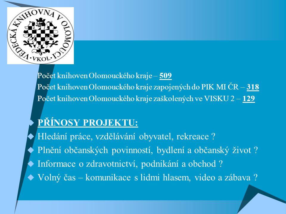  Počet knihoven Olomouckého kraje – 509  Počet knihoven Olomouckého kraje zapojených do PIK MI ČR – 318  Počet knihoven Olomouckého kraje zaškolených ve VISKU 2 – 129  PŘÍNOSY PROJEKTU:  Hledání práce, vzdělávání obyvatel, rekreace .
