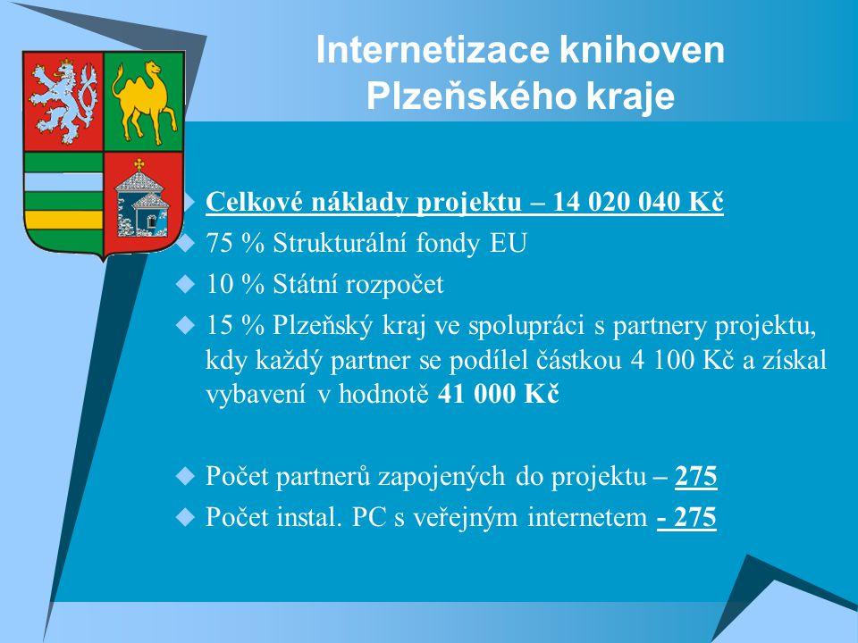 Internetizace knihoven Plzeňského kraje  Celkové náklady projektu – 14 020 040 Kč  75 % Strukturální fondy EU  10 % Státní rozpočet  15 % Plzeňský kraj ve spolupráci s partnery projektu, kdy každý partner se podílel částkou 4 100 Kč a získal vybavení v hodnotě 41 000 Kč  Počet partnerů zapojených do projektu – 275  Počet instal.