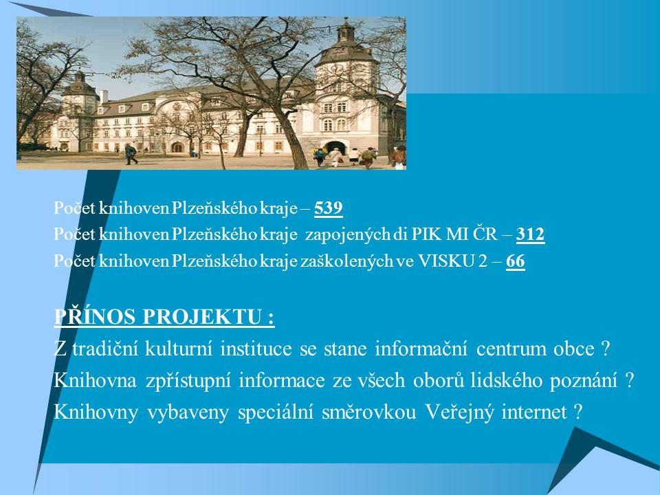  Počet knihoven Plzeňského kraje – 539  Počet knihoven Plzeňského kraje zapojených di PIK MI ČR – 312  Počet knihoven Plzeňského kraje zaškolených ve VISKU 2 – 66  PŘÍNOS PROJEKTU :  Z tradiční kulturní instituce se stane informační centrum obce .