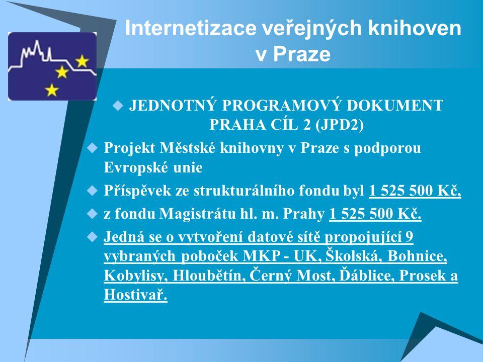 Internetizace veřejných knihoven v Praze  JEDNOTNÝ PROGRAMOVÝ DOKUMENT PRAHA CÍL 2 (JPD2)  Projekt Městské knihovny v Praze s podporou Evropské unie  Příspěvek ze strukturálního fondu byl 1 525 500 Kč,  z fondu Magistrátu hl.